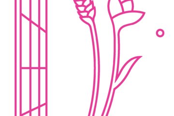 Shred Logo - All in hot pink. A grid, besides which floats shred of wheat and a flower with a seed escaping
